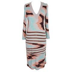 Missoni Gray and Blue Stripes Silk Long Sweater Sheath Dress 1980s V-Neck