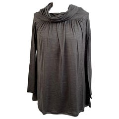 Missoni Gray Wool and Silk Long Sleeve Top with Cowl Neck Size 40