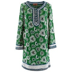 Missoni Green Embroidered Metallic Crochet-Knit Mini Dress 40