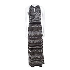 Missoni Grey Animal Pattern Lurex Knit Sleeveless Maxi Dress S