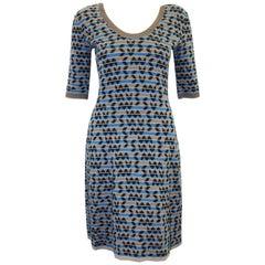 Missoni Grey, Turquoise and Black Scoop Neck Dress W/ 3/4 Sleeeves