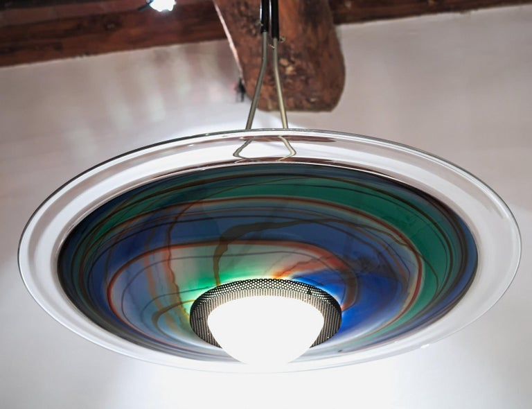 Mid-Century Modern Missoni, Halogen Chandelier with Incalmo and Calcedonia Murano Glass, 1980s For Sale