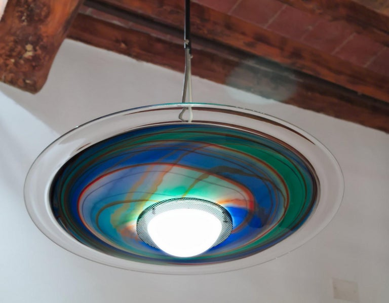 Late 20th Century Missoni, Halogen Chandelier with Incalmo and Calcedonia Murano Glass, 1980s For Sale