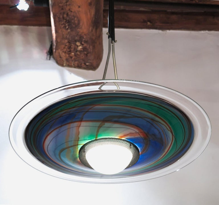 Missoni, Halogen Chandelier with Incalmo and Calcedonia Murano Glass, 1980s For Sale 3