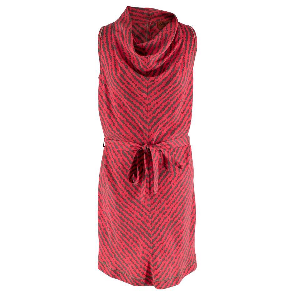 Missoni Hot Pink Printed Silk Sleeveless Midi Shift Dress - Size S