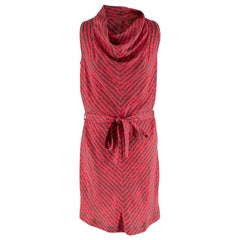 Missoni Hot Pink Printed Silk Sleeveless Midi Shift Dress - Size S