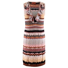 Missoni Knit Zigzag Ruffle Neck Sleeveless Dress - Size US 8