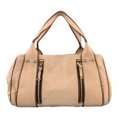 MISSONI Light Pink Leather Double Zip Shoulder Handbag