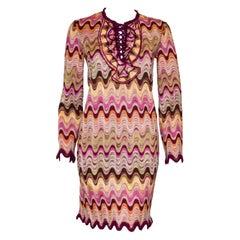Missoni Long Sleeve Multi Color Wave Pattern Pink, Brown, Orange & Green Dress