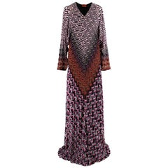 Missoni Lurex Chevron Wool Blend Gown 38