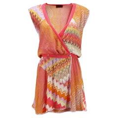 Missoni Mare Crochet Knit Wrap Mini Dress IT 40 UK 8