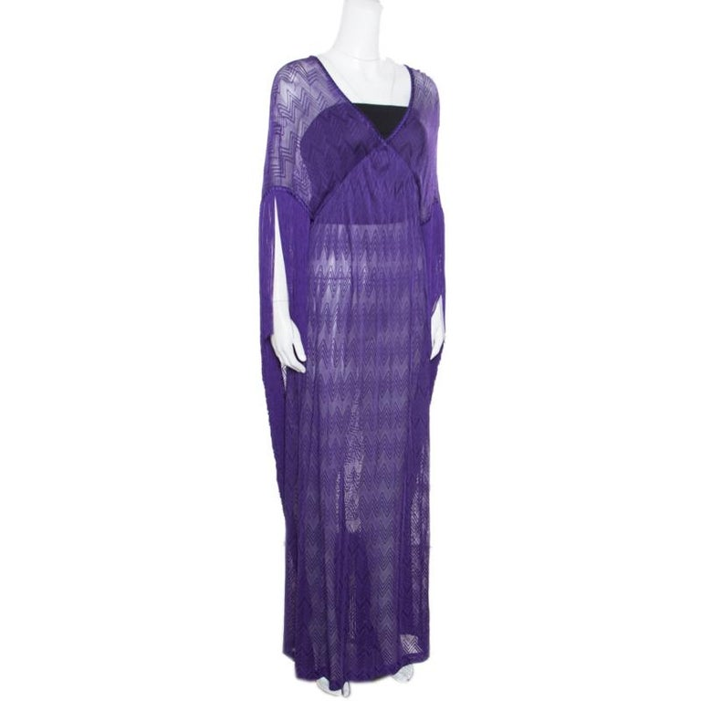 22142076ff28 Missoni Mare Deep Purple Chevron Patterned Knit Fringed Maxi Cover Up Dress  L In New Condition