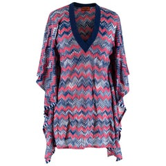 Missoni Mare Navy/Pink Chevron Crochet Poncho Cover-Up - Size US 4