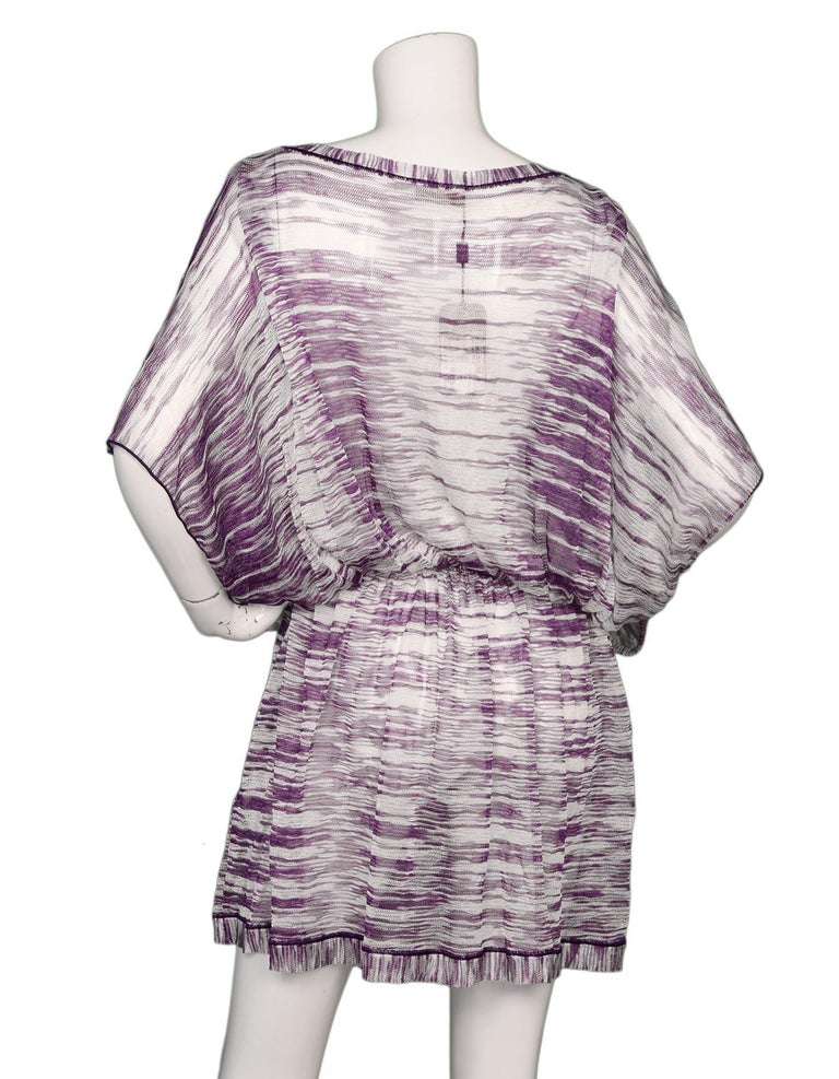 7d68b9c937 Gray Missoni Mare NWT Purple/White Knit Caftan Tunic Beach Coverup Sz 42  For Sale
