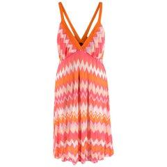 Missoni Mare Pink & Orange Chevron Print Knit Mini Dress - Size US 10