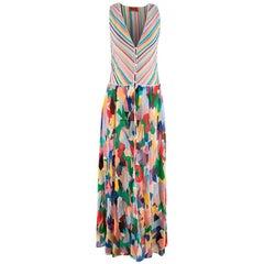 Missoni Mare Striped Metallic Knit & Pleated Shirt Dress/Coverall - Size US 6