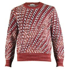 Missoni Men's Vintage 1980s Red Patterned Wool Rayon & Mohair Blend Sweater