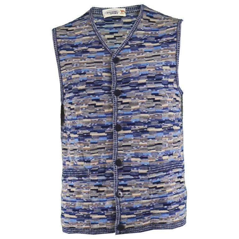 Missoni Men's Vintage Blue Wool and Silk Textured Knit Sweater Vest, 1990s