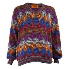Missoni Men's Vintage Multicolored Diamond Pattern Cotton Knit V Neck Sweater