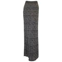 Missoni Metallic Black & Silver Tone Maxi Skirt