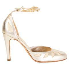 MISSONI metallic gold leather Ankle Strap Pumps Shoes 37