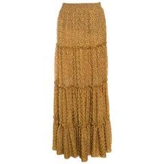Missoni Metallic Gold Tiered Ruffle Detail Maxi Skirt S