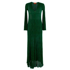 Missoni Metallic Knit Green Maxi Dress UP S 38
