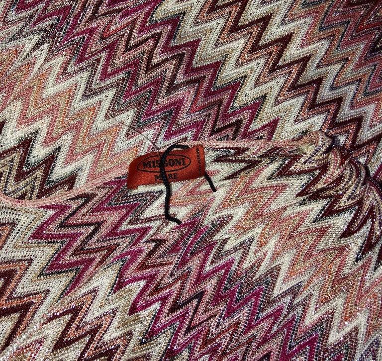 Brown Missoni Metallic Lurex Knit Belted Kaftan Dress Cover Up For Sale