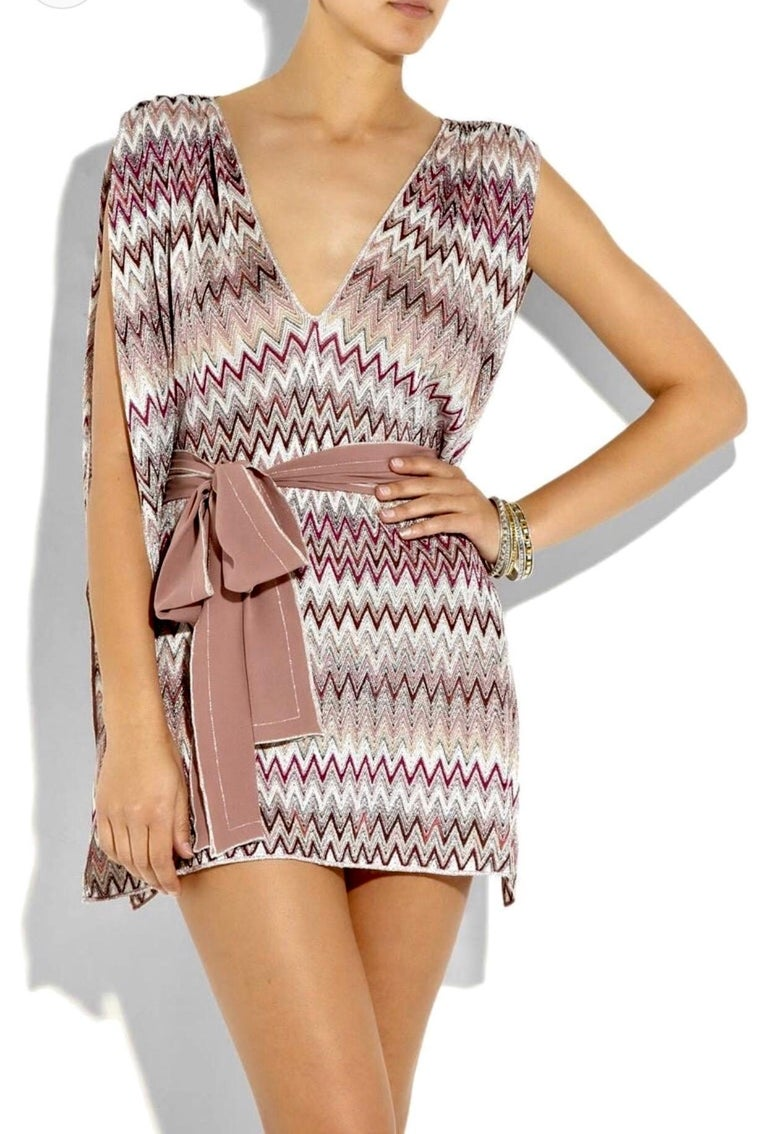 Missoni Metallic Lurex Knit Belted Kaftan Dress Cover Up In New Condition For Sale In Switzerland, CH