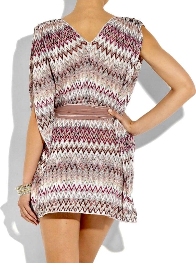 Women's Missoni Metallic Lurex Knit Belted Kaftan Dress Cover Up For Sale