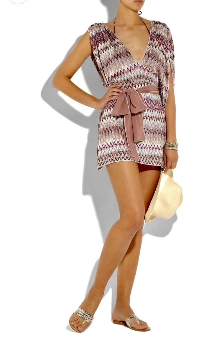 Missoni Metallic Lurex Knit Belted Kaftan Dress Cover Up For Sale 1