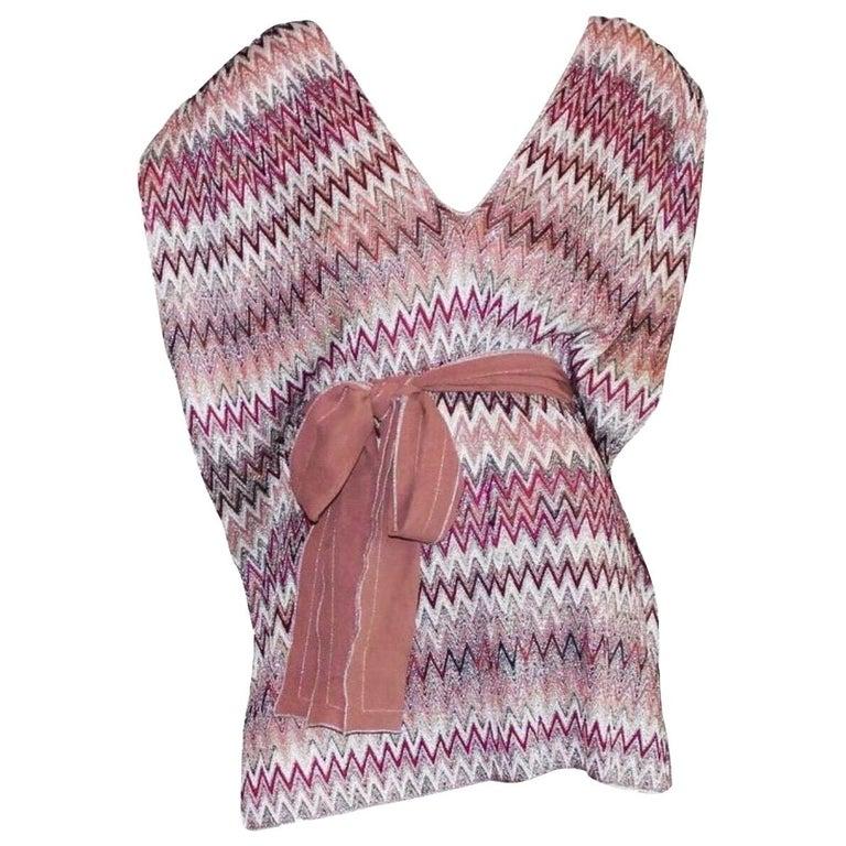 Missoni Metallic Lurex Knit Belted Kaftan Dress Cover Up For Sale