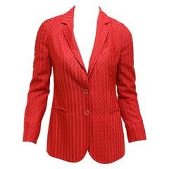 Missoni Metallic Red Knit Blazer