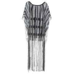Missoni Monochrome Chevron Knit Fringe Detail Dress M