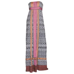 Missoni Monochrome Crochet Knit Maxi Dress with Colorblock Trimming