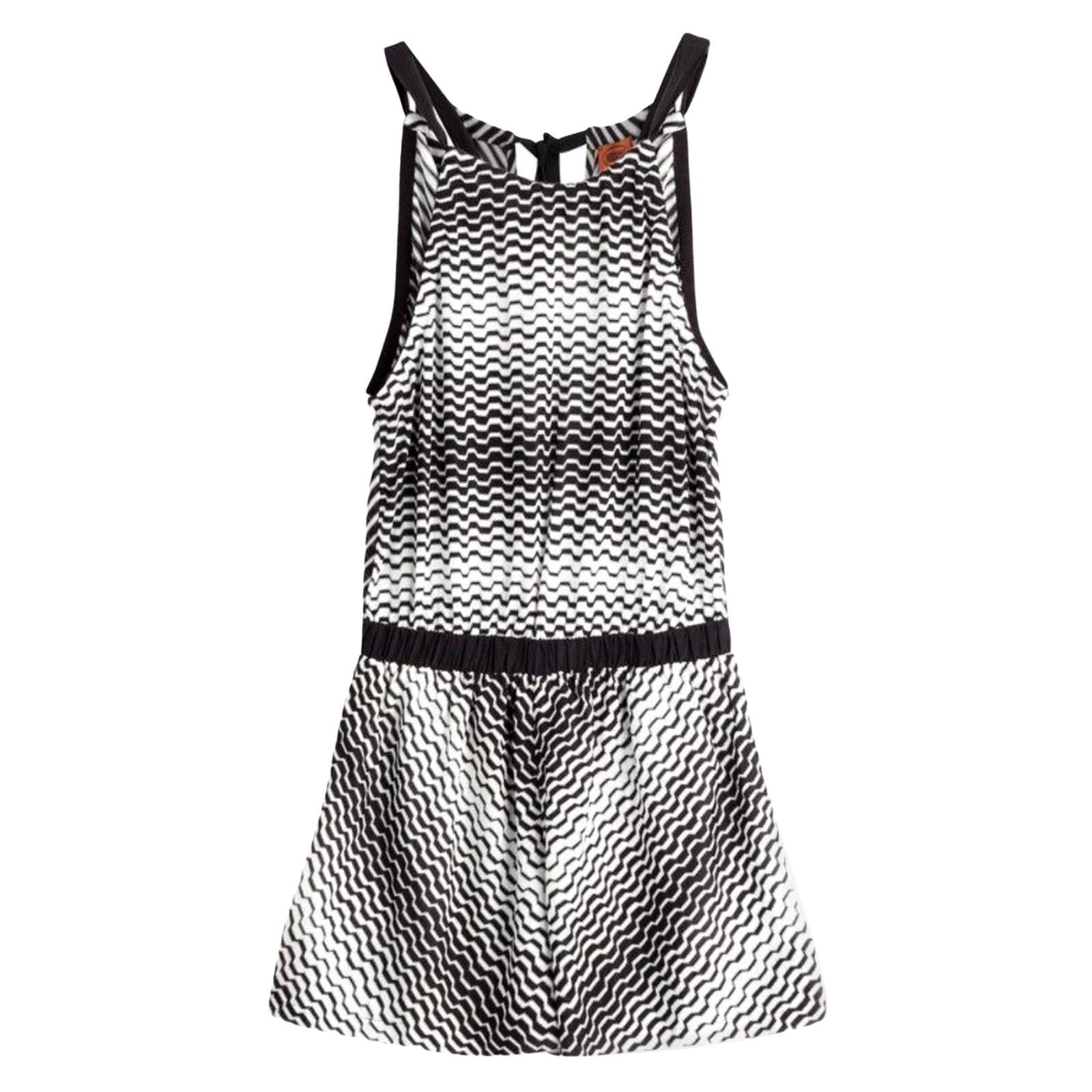 Missoni Monochrome Signature Crochet Knit Playsuit Romper Mini Jumpsuit Overall