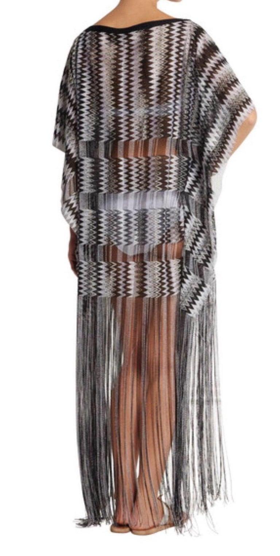Women's Missoni Monochrome Signature Fringed Crochet Knit Dress Kaftan Gown Cover Up For Sale