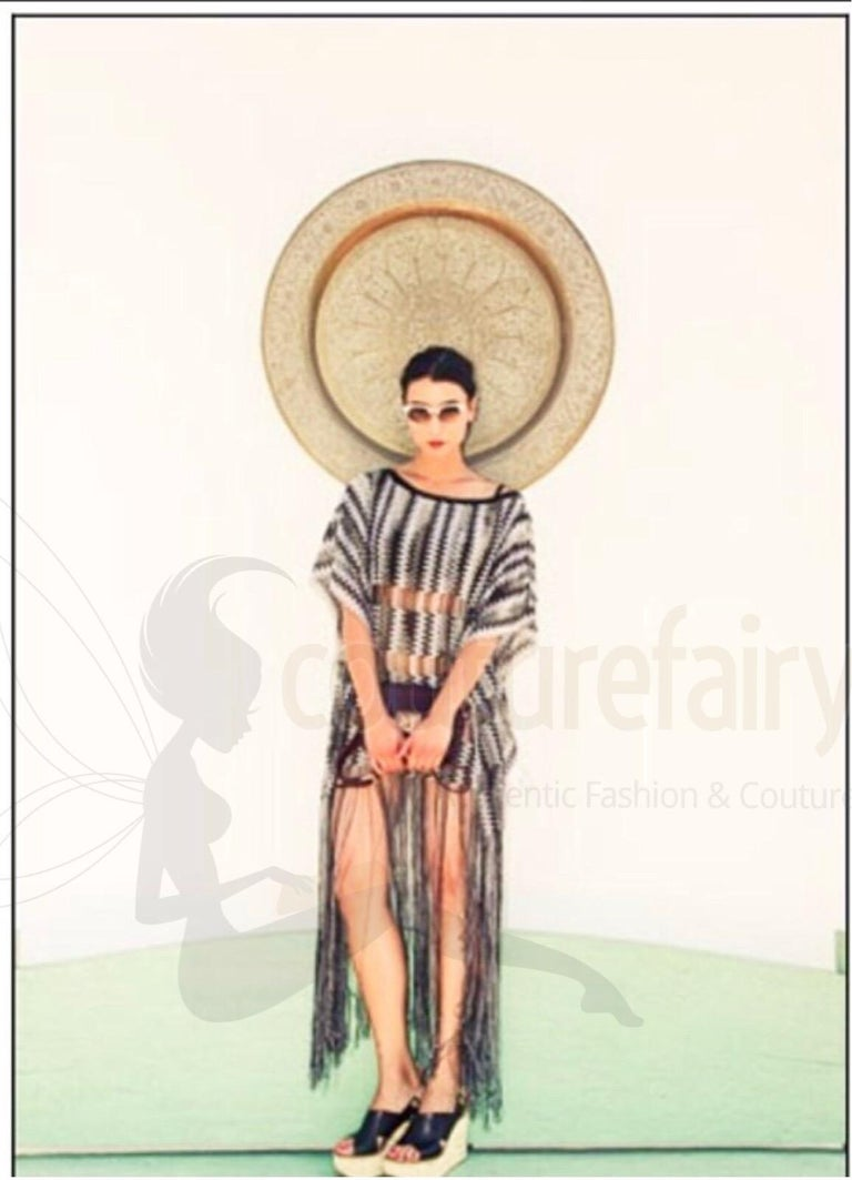 Missoni Monochrome Signature Fringed Crochet Knit Dress Kaftan Gown Cover Up For Sale 2