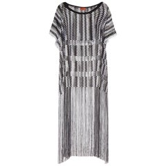 Missoni Monochrome Signature Fringed Crochet Knit Dress Kaftan Gown Cover Up