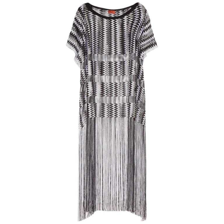 Missoni Monochrome Signature Fringed Crochet Knit Dress Kaftan Gown Cover Up For Sale