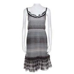 Missoni Monochrome Textured Knit Flounce Hem Detail Metallic Strappy Dress M