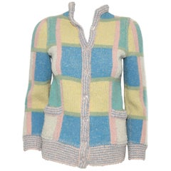 Missoni Multi 1970's Mod Pastel Color Sweater Style Jacket