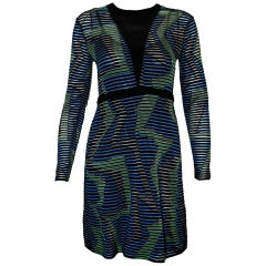 Missoni Multi Color Long Sleeve Abstract Knit Dress