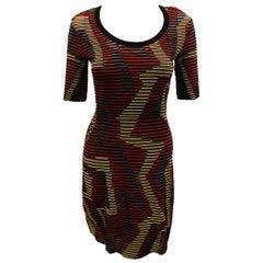 Missoni Multi Color Short Sleeve Geometric Design Dress