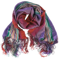 MISSONI Multi-Color Striped Viscose Pleated Knit Fringe Scarf