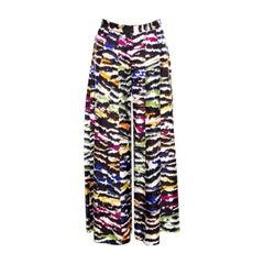 Missoni Multicolor Abstract Printed Silk Wide Leg Pants M