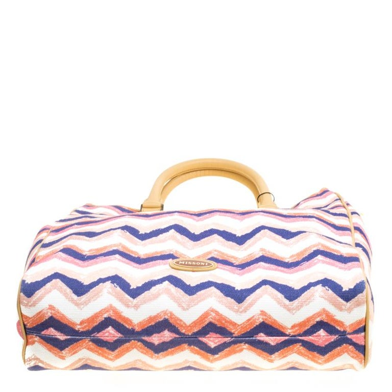 e86bc873bbd50 Missoni Multicolor/Beige Printed Canvas and Leather Tote For Sale at ...