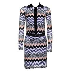 Missoni Multicolor Chevron Pattern Knit Belted Dress S