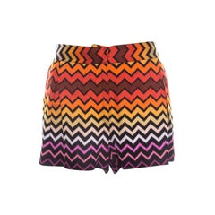 Missoni Multicolor Chevron Pattern Knit Mini Shorts M