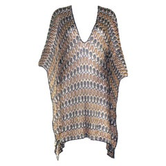 Missoni Multicolor Gold Metallics Lurex Crochet Knit Kaftan Tunic Top Dress Pool
